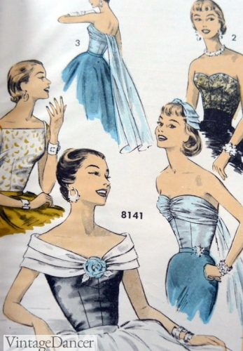 Necklines of 1950s party dresses, cocktail dresses, formal evening gowns