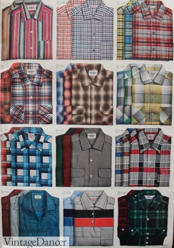 1950s mens plaid shirts. Button down shirts and a few polo shirts. 1951
