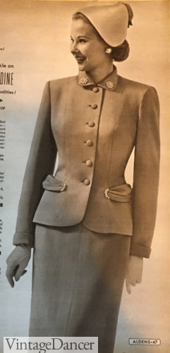 1953 womens suit hat outfit