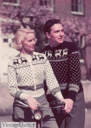 1955 more matching deer sweaters- I love the exchange of black and white