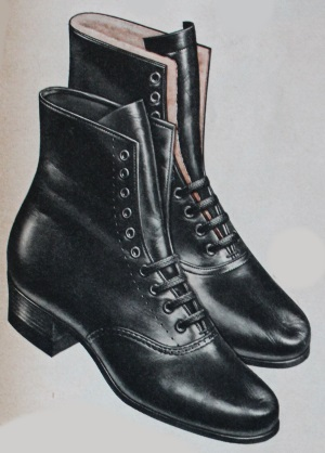 "1955 shearling lined lace up boot in a classic ""Victorian"" design."