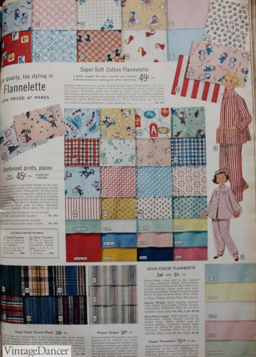 1950s nightgown and pajama flannel fabrics