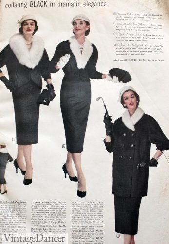 1950s fur trim suits, jackets