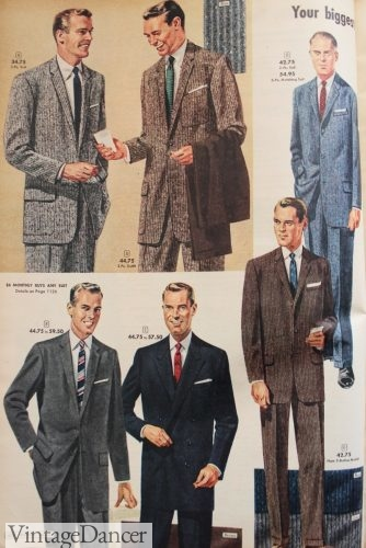 1950s mens fashion, 1957 men's suits with texture were very popular in the 1950s. VintageDancer.com/1950s