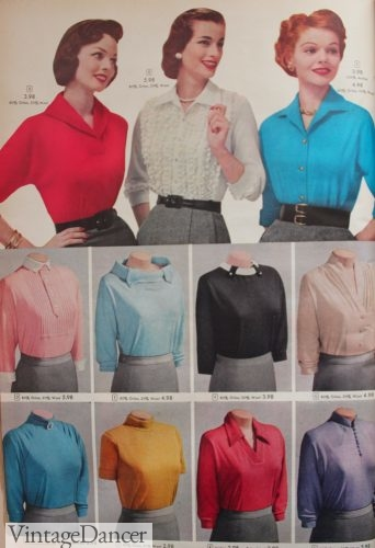 1957 knit tops and tailored blouses