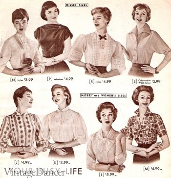 1950s Blouses - more styles formal and informal