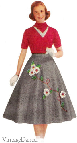 "1957 felt ""poodle"" skirt with floral applique for teen girls 1950s"
