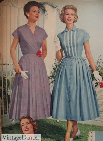 1958 House dress or afternoon dress? Simple dresses blurred the lines between house work and going out
