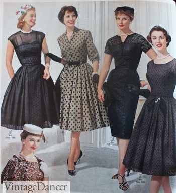 Simple black evening swing dresses, 1960s