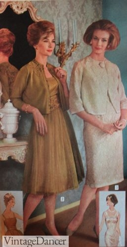 1960s Lace or tulle cocktail dresses with crop jackets