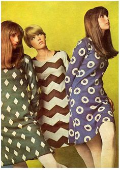 Bright color combinations and patterns were a key feature of late 1960s clothing
