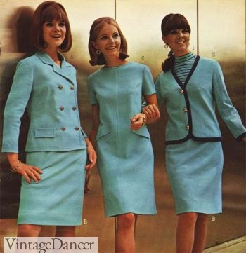 Mid 60s teal dresses and suits