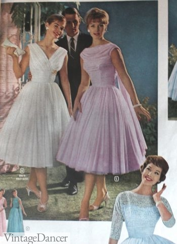 1960, tulle swing dresses in white or lavender