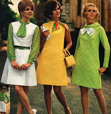 Bright tones and colors on these 1960s dresses