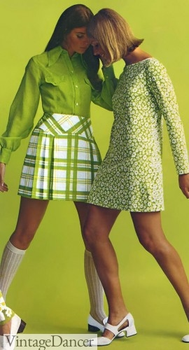 "1968 Pleated Plaid Mini Skirt for a ""School girl"" look"