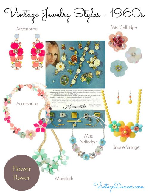 1960s jewelry styles: flower power