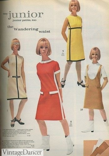 60s dresses with mod stripes- very Mondrian inspired