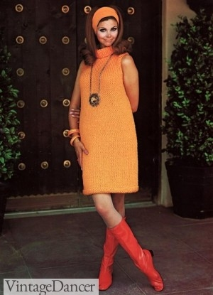 1960s boots and shoes. Orange PVC Boots