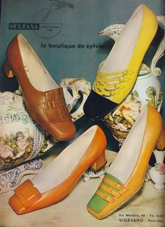 1960s Pilgrim flats. Designers took the overall Pilgrim look and modified the design into something more casual. Instead of adding bulky shoe buckles the designers added shapes and patterns onto the toe box that mimicked the look of buckles.The union jack symbol was popular with the swinging youth in London. Other geometric shapes, straps, and tongues added to an overall modish design on footwear for the remainder of the 60s.