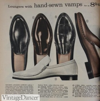 1961 men's loafers, white, black, brown shoes