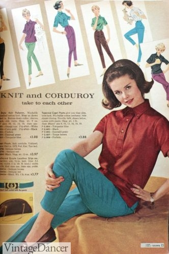 1961 stretch pants with polo shirt, sockless loafers, and a headband