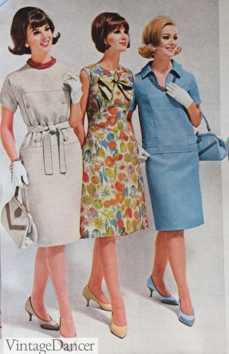 1964 transition dress with gloves, heels, and purses