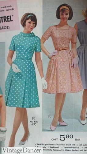 1964 teal polka dot and peach swing dresses