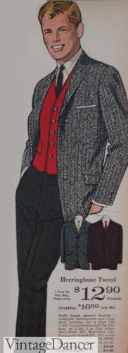 1964 mens fashion Ivy League chevron wool sport coat over a red vest with black trousers