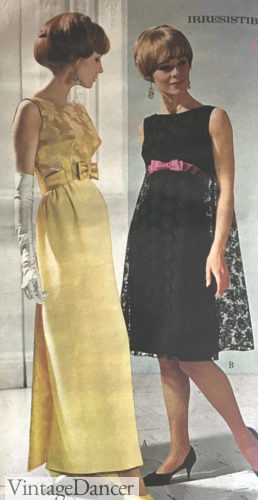 1968 formal lace and satin dresses