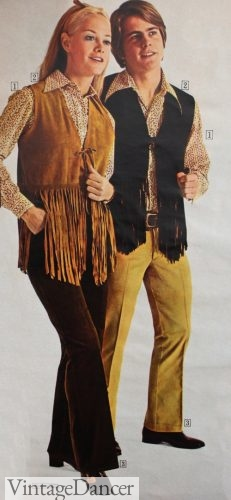 70s hippie outfits - fringe vests for women and men