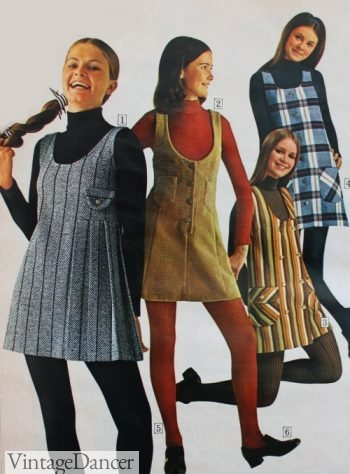 1970 jumper dresses over turtleneck shirts