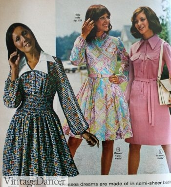1973 fit and flare dresses with large collars