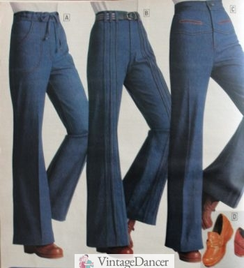 1977 blue jeans, bell bottom