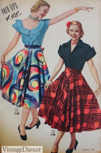 1951 Aldens skirts and tops- notice the art print in the back
