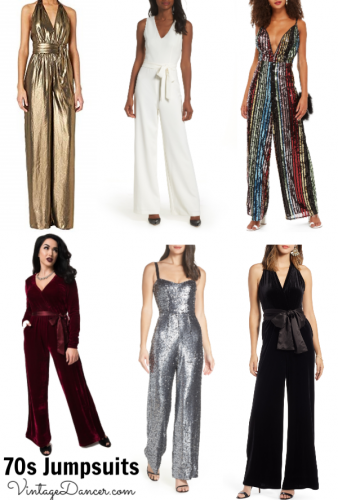 70s jumpsuits, 1970s jumpsuits, retro jumpsuits in black, white, gold, silver, rainbow stripes, sequins, velvet and more at vintagedancer