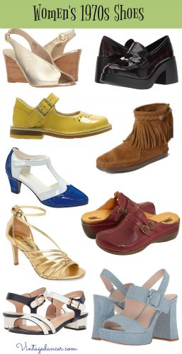1970s shoes - flats,sandals, platform, hippie, boots, disco, clogs, sneakers