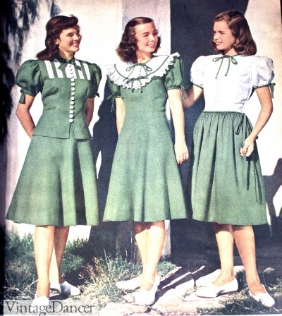 1940s teenager skirts and peasant tops