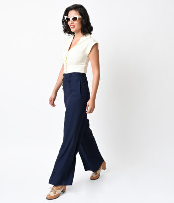 1940s outfit with pants - Summer sailor pants and white sleeveless blouse