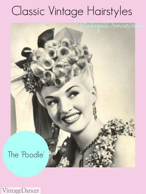 The 'Poodle' style is a mass of curls or pin curls pinned on top of the head. The curls would be arranged decoratively to frame the face.