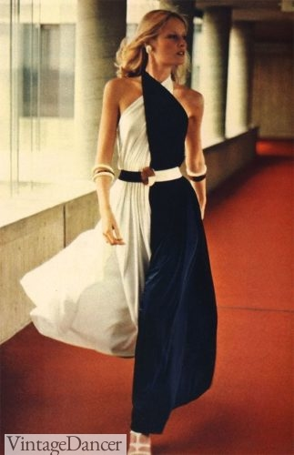 Color lock draped evening gown 1972