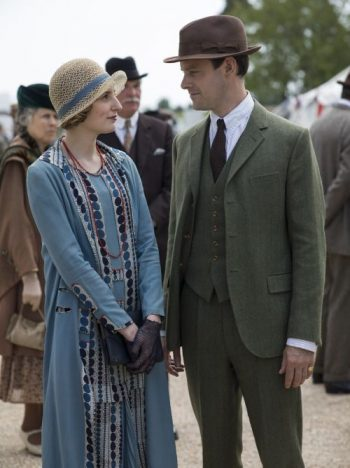 Edith's dress in Downton Abbey has Art Deco circles cascading down the lapels and on the belt