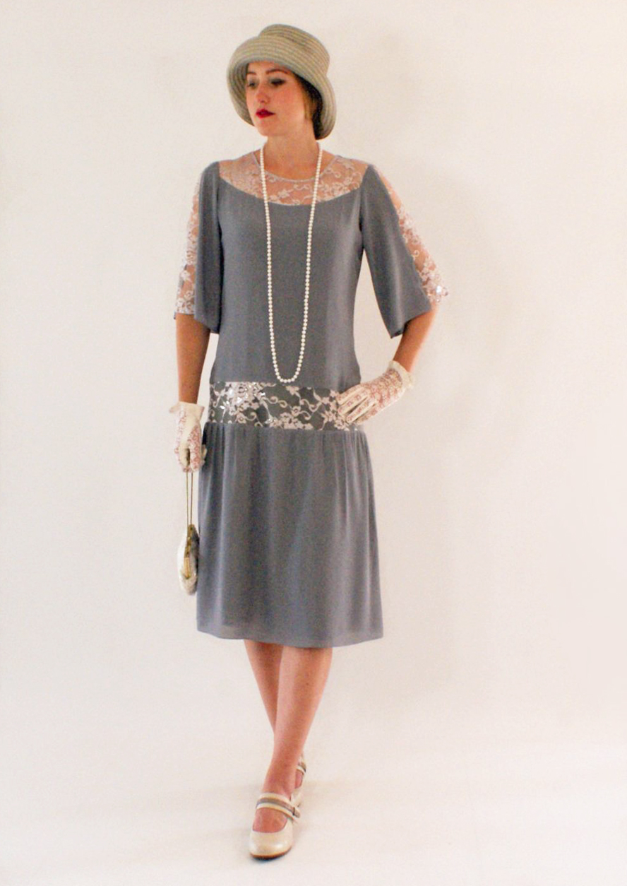 Buy Boardwalk Empire Inspired Dresses Grey Great Gatsby dress with elbow-length sleeves 1920s dress flapper costume Charleston dress Roaring 20s fashion Downton Abbey dress LaVieDelight $140.00 AT vintagedancer.com