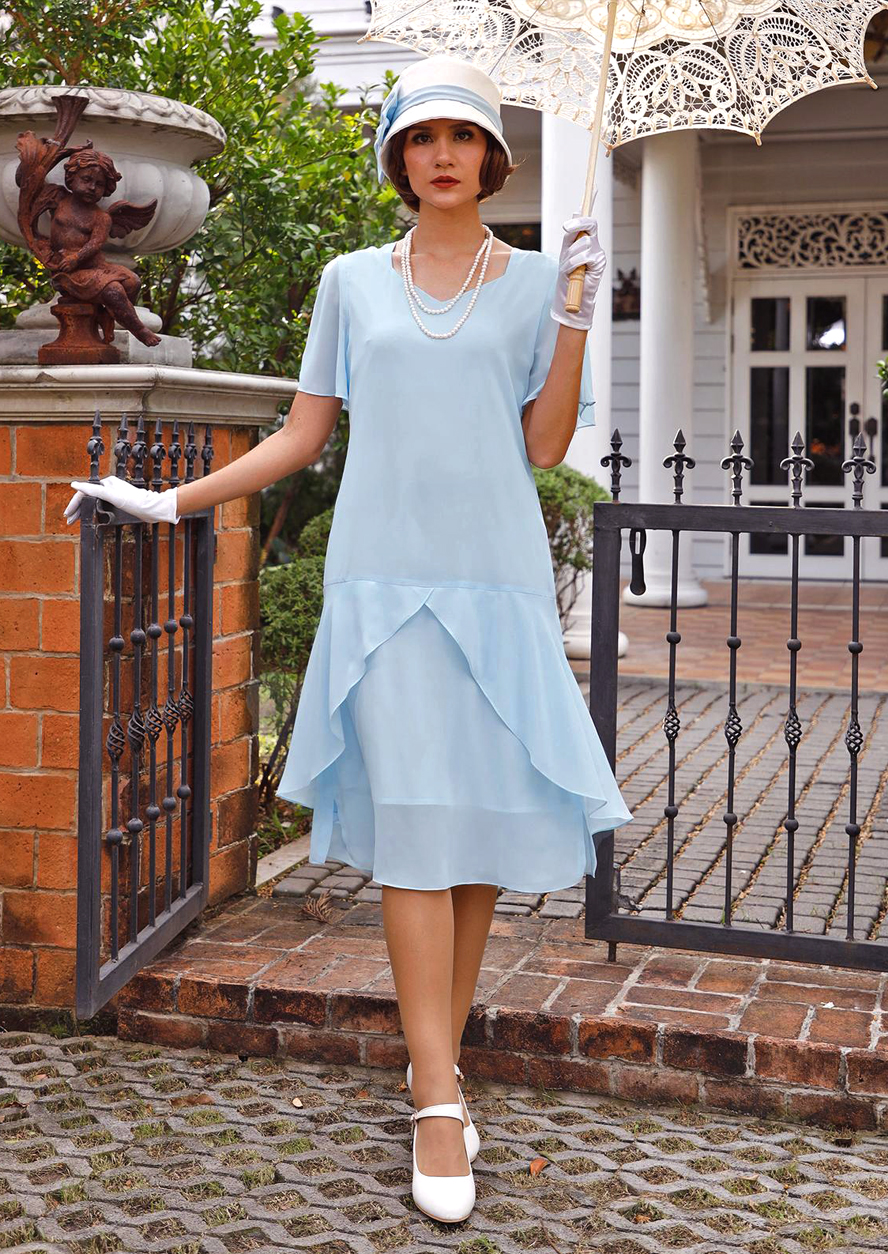 Downton Abbey Inspired Dresses 1920s Great Gatsby dress in light blue with sweetheart neckline 1920s flapper dress Downton Abbey dress Lady Mary dress Charleston dress LaVieDelight $130.00 AT vintagedancer.com