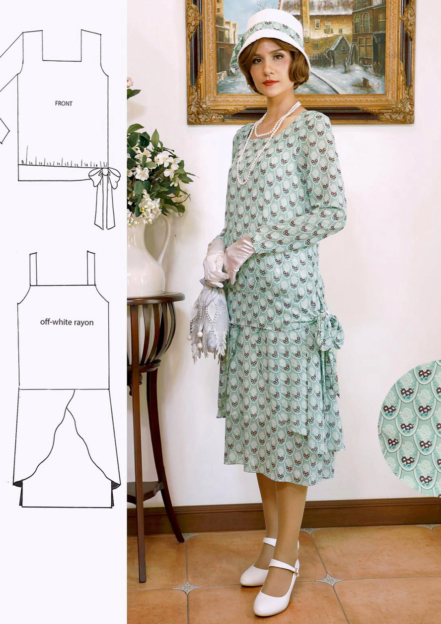 1920s Skirts, Gatsby Skirts, Vintage Pleated Skirts 1920s blouse and skirt two-piece outfit in printed light green chiffon Downton Abbey blouse and skirt 1920s high tea outfit 20er kleider LaVieDelight $150.00 AT vintagedancer.com