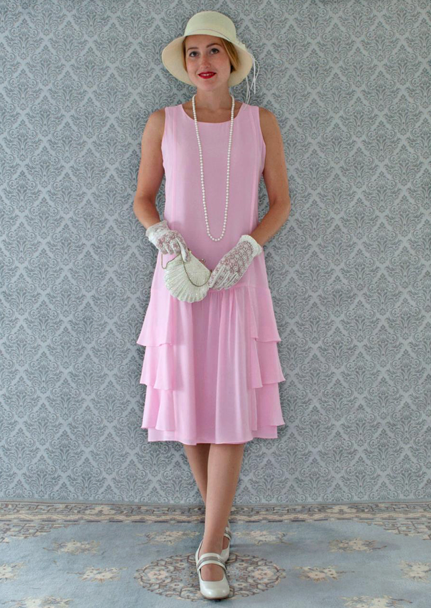 1920s Evening Dresses & Formal Gowns Pink Downton Abbey dress with tiered skirt Roaring 20s dress 1920s flapper dress 20s bridesmaid dress high tea dress Great Gatsby dress LaVieDelight $130.00 AT vintagedancer.com