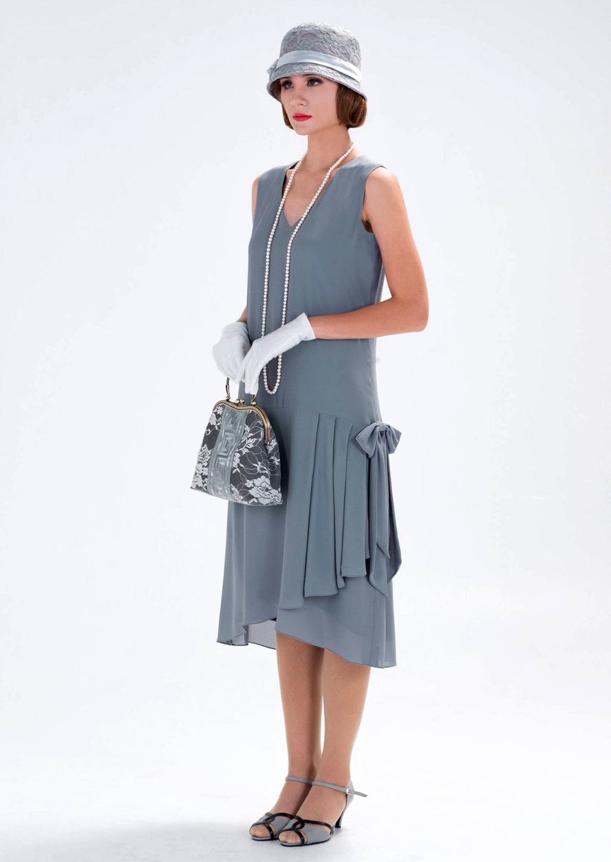 Flapper Dresses & Quality Flapper Costumes 1920s-inspired flapper dress in grey with drape and bow 1920s fashion Great Gatsby dress Downton Abbey dress high tea dress 20s dress  laviedelight $130.00 AT vintagedancer.com