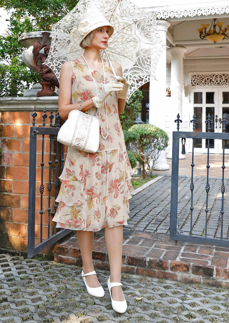 Downton Abbey Inspired Dresses 1920s silk chiffon dress in light sand color floral floral print with tiered skirt 1920s tea dress Great Gatsby dress silk flapper dress LaVieDelight $160.00 AT vintagedancer.com
