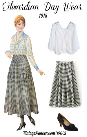 Simple Edwardian day costume idea with a long skirt, embroidered blouse and heels. get this look and more at VintageDancer.com