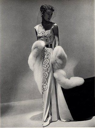 Lanvin 1937 gown and long fur wrap