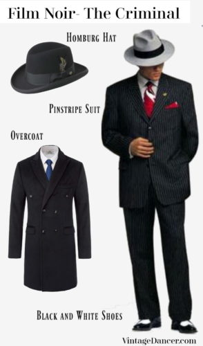 1920s Hollywood gangster outfit: homburg or fedora hat, black pinstripe suit, black overcoat, black and white wingtip shoes or spats